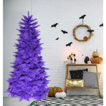 Haunted Hill Farm 6.5 Ft. Spooky Purple PVC Tree, No Lights, HH065PVCTREE-0PUR