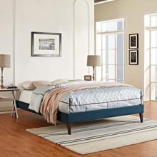 View Product - Tessie King Fabric Bed Frame with Squared Tapered Legs in Azure
