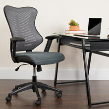 See Details - High Back Designer Gray Mesh Executive Swivel Ergonomic Office Chair with Adjustable Arms