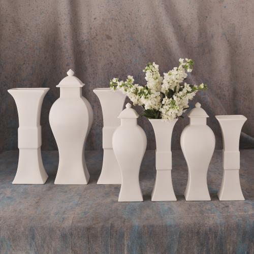 Garniture Vase-Matte White-Lg