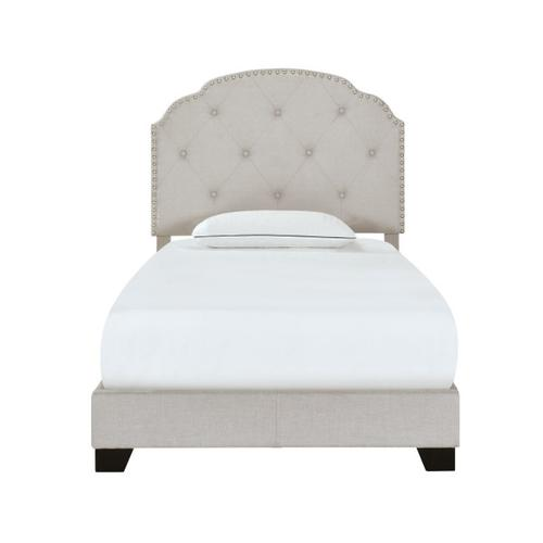 Diamond Tufted, Nailhead Trim Twin Upholstered Bed in Light Gray