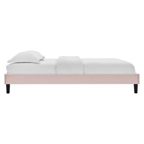 Reign Twin Performance Velvet Platform Bed Frame in Pink