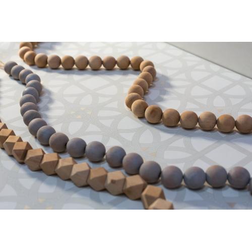 6ft Natural Wood Bead Garland (Geometrical Option)
