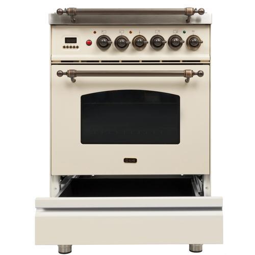 24 Inch Antique White Dual Fuel Natural Gas Freestanding Range