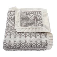 Lodge Fair Isle Taupe Knit Throw Blanket