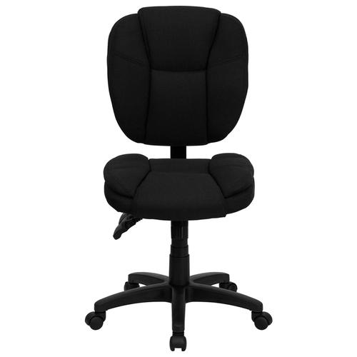 Gallery - Mid-Back Black Fabric Multifunction Swivel Ergonomic Task Office Chair with Pillow Top Cushioning