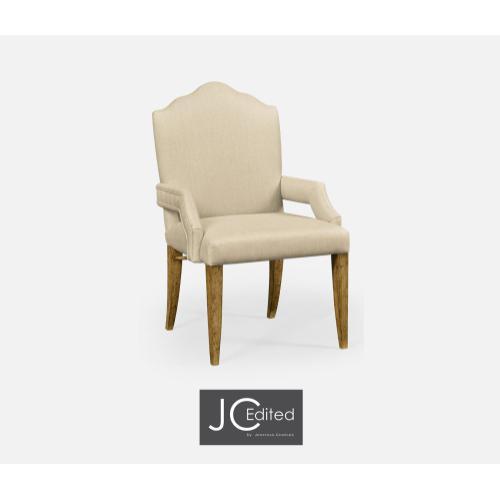 High Back Light Brown Chestnut Armchair, Upholstered in MAZO