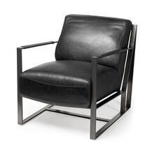 Malvo I Black Faux-Leather Iron Frame Accent Chair