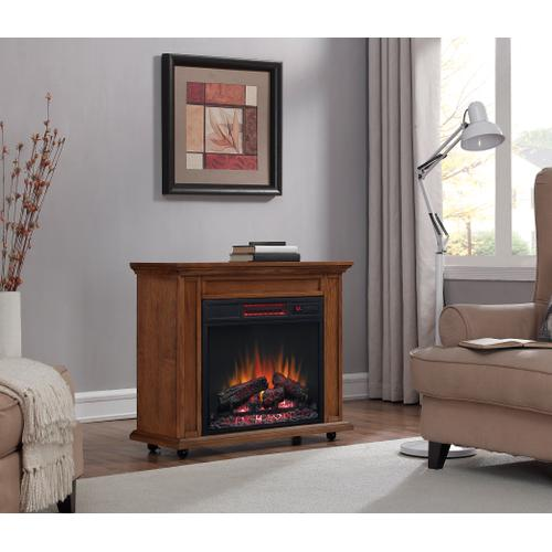 Classic Flame - duraflame® Rolling Mantel with Infrared Quartz Electric Fireplace, Premium Oak