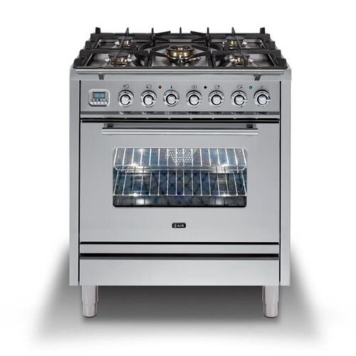 Ilve - Professional Plus 30 Inch Dual Fuel Natural Gas Freestanding Range in Stainless Steel with Chrome Trim