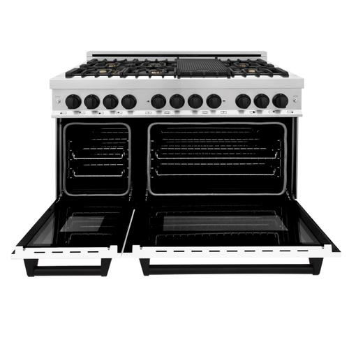"""Zline Kitchen and Bath - ZLINE Autograph Edition 48"""" 6.0 cu. ft. Dual Fuel Range with Gas Stove and Electric Oven in Stainless Steel with White Matte Door with Accents (RAZ-WM-48) [Color: Matte Black]"""