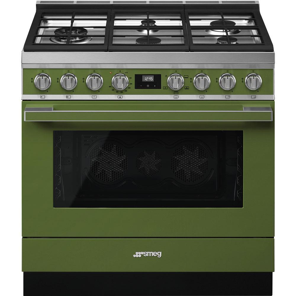"""SmegPortofino Pro-Style Gas Range, Olive Green, 36"""" X 25"""""""