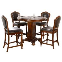 "CR-87148-TCB-5P  Bellagio 5 Piece 42"" Round Counter Height Dining, Chess and Poker Table Set  Reversible 3 in 1 Game Top  Distressed Cherry Brown Wood  Upholstered Stools with Nailheads"