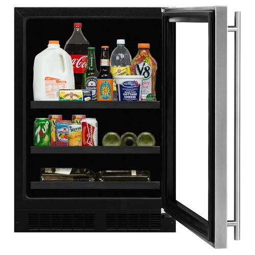 24-In Built-In Beverage Center With Split Convertible Shelves with Door Style - Stainless Steel Frame Glass, Door Swing - Right