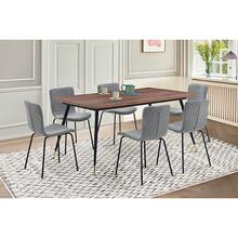 Messina and Gillian Charcoal Fabric and Walnut 7 Piece Dining Set