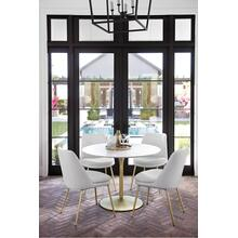 Aubreita Dining Chair In White Faux Leather With Brass Plated Legs