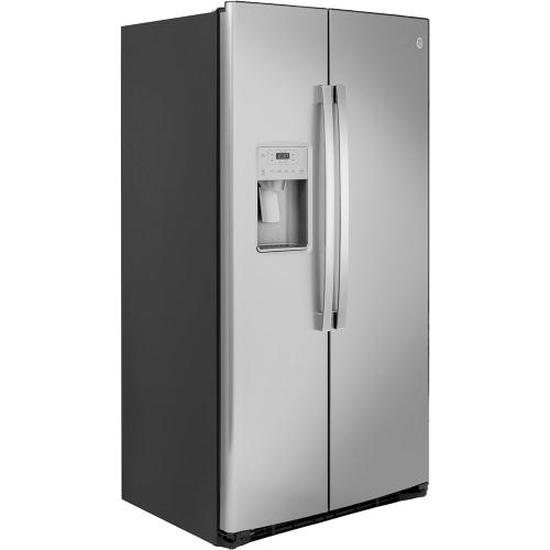 GE Appliances Canada - GE 21.8 Cu. Ft. Counter-Depth Side-By-Side Refrigerator Stainless Steel - GZS22IYNFS
