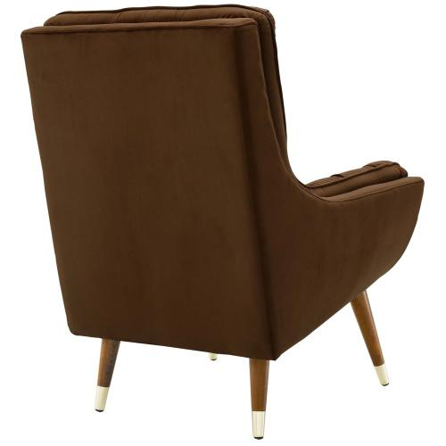Modway - Suggest Button Tufted Performance Velvet Lounge Chair in Brown