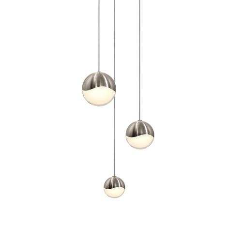 Sonneman - A Way of Light - Grapes® LED Pendant [Size=3-Light Assorted, Color/Finish=Satin Nickel, Shape=Round Canopy]