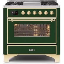 Majestic II 36 Inch Dual Fuel Natural Gas Freestanding Range in Emerald Green with Brass Trim