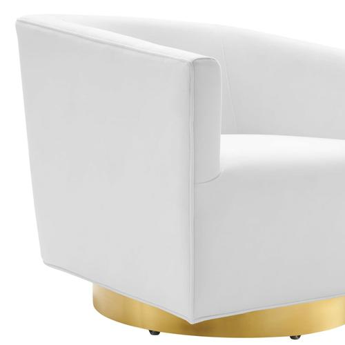 Modway - Twist Accent Lounge Performance Velvet Swivel Chair in Gold White