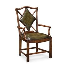 "Playing card ""Diamond"" armchair with medium English library green leather"