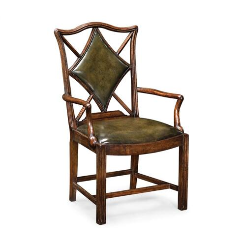 "Playing Card ""Diamond"" Arm Chair with Medium English Library Green Leather"