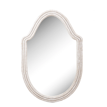 See Details - White Wood Beaded Curved Framed Wall Mirror