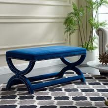 Expound Upholstered Nailhead Trim Performance Velvet Bench in Navy