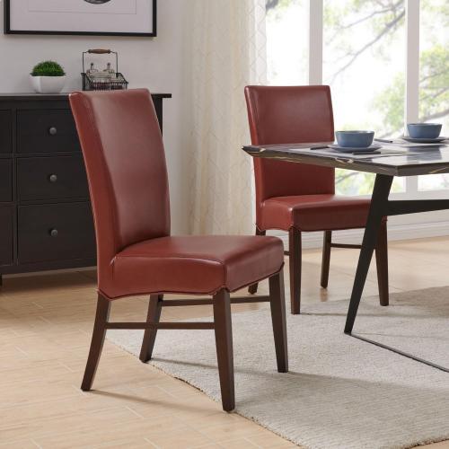 Milton Bonded Leather Chair, Pomegranate