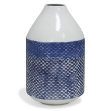 View Product - White and Blue Distress  14in x 8in Traditional Checkered Metal Vase