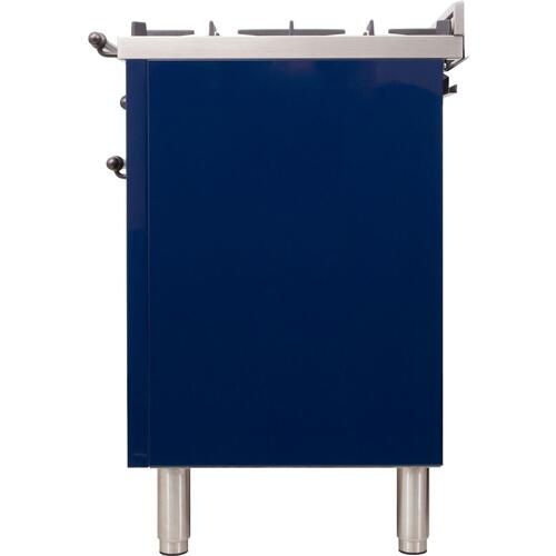 Nostalgie 30 Inch Dual Fuel Natural Gas Freestanding Range in Blue with Bronze Trim