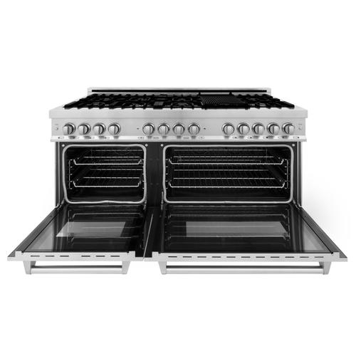 """Zline Kitchen and Bath - ZLINE 60"""" 7.4 cu. ft. Dual Fuel Range with Gas Stove and Electric Oven in Stainless Steel (RA60) [Color: Stainless Steel with Brass Burners]"""