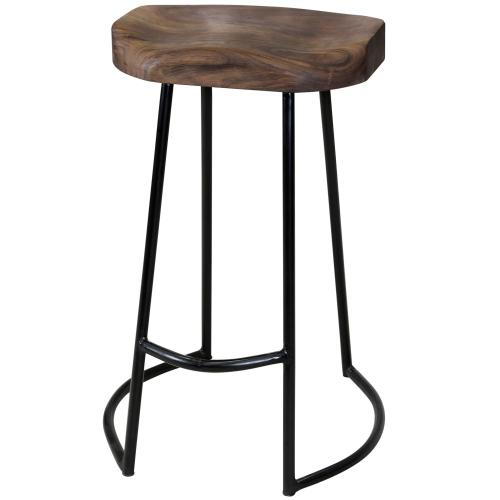 Gavin  Sculpted Counter Stool with Solid Acacia Seat & Black Wrought Iron Base