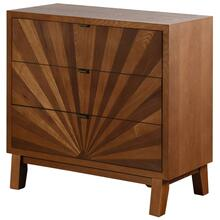 Hayden  34in X 16in X 33in  3 Drawer Starburst Chest Made of Walnut & Ash Wood Veneers Mdf & Wood