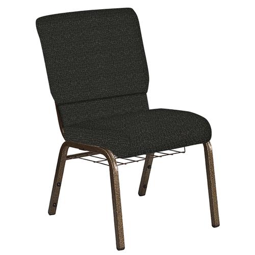 Flash Furniture - 18.5''W Church Chair in Cobblestone Pewter Fabric with Book Rack - Gold Vein Frame
