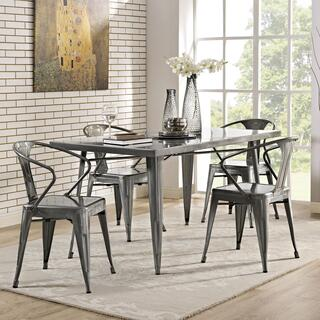 Alacrity Rectangle Metal Dining Table in Gunmetal