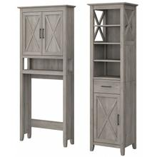 Key West Bathroom Tall Linen Cabinet and Over The Toilet Storage Cabinet - Driftwood Gray