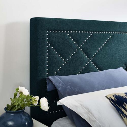 Reese Nailhead Full / Queen Upholstered Linen Fabric Headboard in Azure