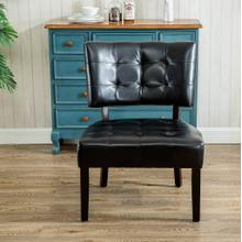 Faux Leather Tufted Dining Chair with Oversized Seating, Black