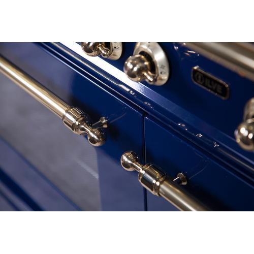 Nostalgie 48 Inch Dual Fuel Liquid Propane Freestanding Range in Blue with Brass Trim