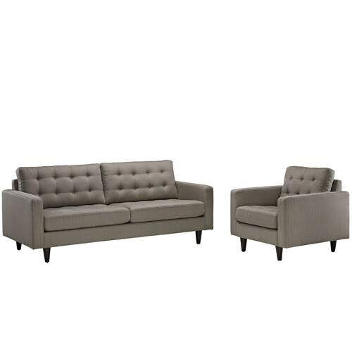 Modway - Empress Armchair and Sofa Set of 2 in Granite