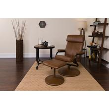 Contemporary Multi-Position Headrest Recliner and Ottoman with Wrapped Base in Palimino LeatherSoft