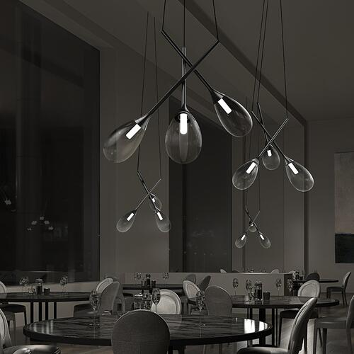 Sonneman - A Way of Light - Parisone LED Pendant [Size=5-Light, Color/Finish=Satin Black w/White Etched Cased Glass]