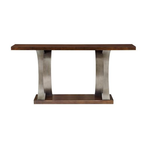 One Bottom Shelf Console Table, Cherry Brown and Silver