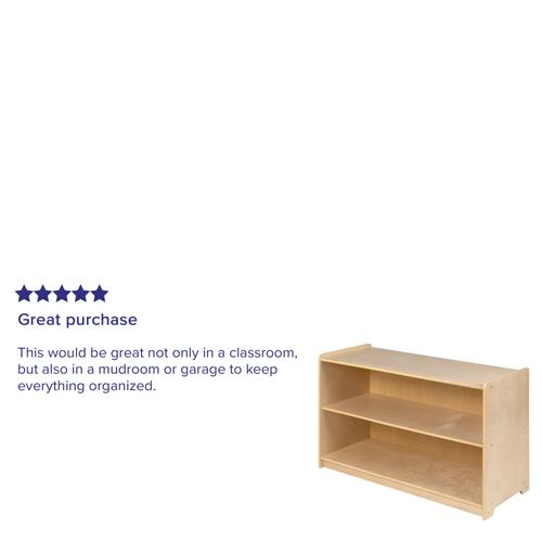 """Flash Furniture - Wooden 2 Section School Classroom Storage Cabinet for Commercial or Home Use - Safe, Kid Friendly Design - 24""""H x 36""""L (Natural)"""