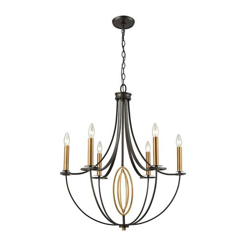 Dione 6-Light Chandelier in Brushed Antique Brass and Oil Rubbed Bronze