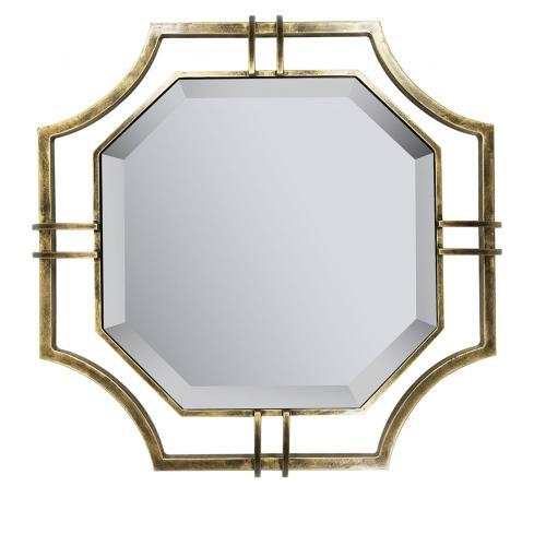 Henson Floating Octagonal Beveled Mirror in Antique Brass Frame