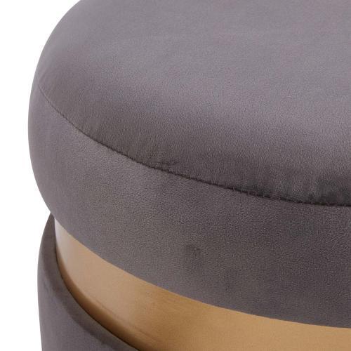 Product Image - Suri Velvet Fabric Fringe Round Storage Ottoman, Serene Dark Gray/ Gold
