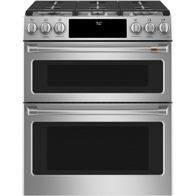 "30"" Smart Slide-In, Front-Control, Gas Double-Oven Range with Convection"